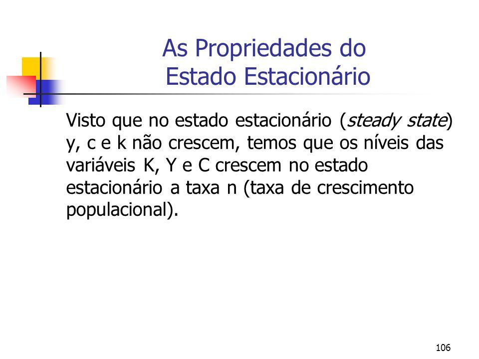 106 As Propriedades do Estado Estacionário Visto que no estado estacionário (steady state) y, c e k não crescem, temos que os níveis das variáveis K,