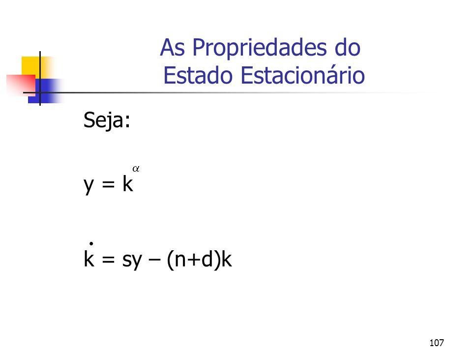 107 As Propriedades do Estado Estacionário Seja: y = k k = sy – (n+d)k