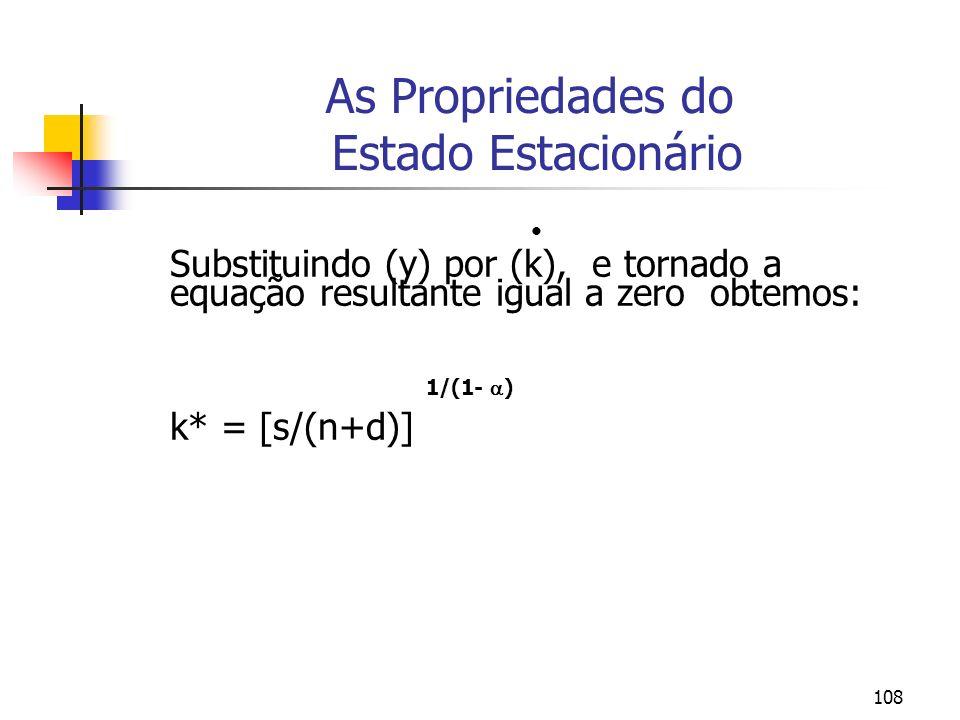108 As Propriedades do Estado Estacionário Substituindo (y) por (k), e tornado a equação resultante igual a zero obtemos: 1/(1- ) k* = [s/(n+d)]
