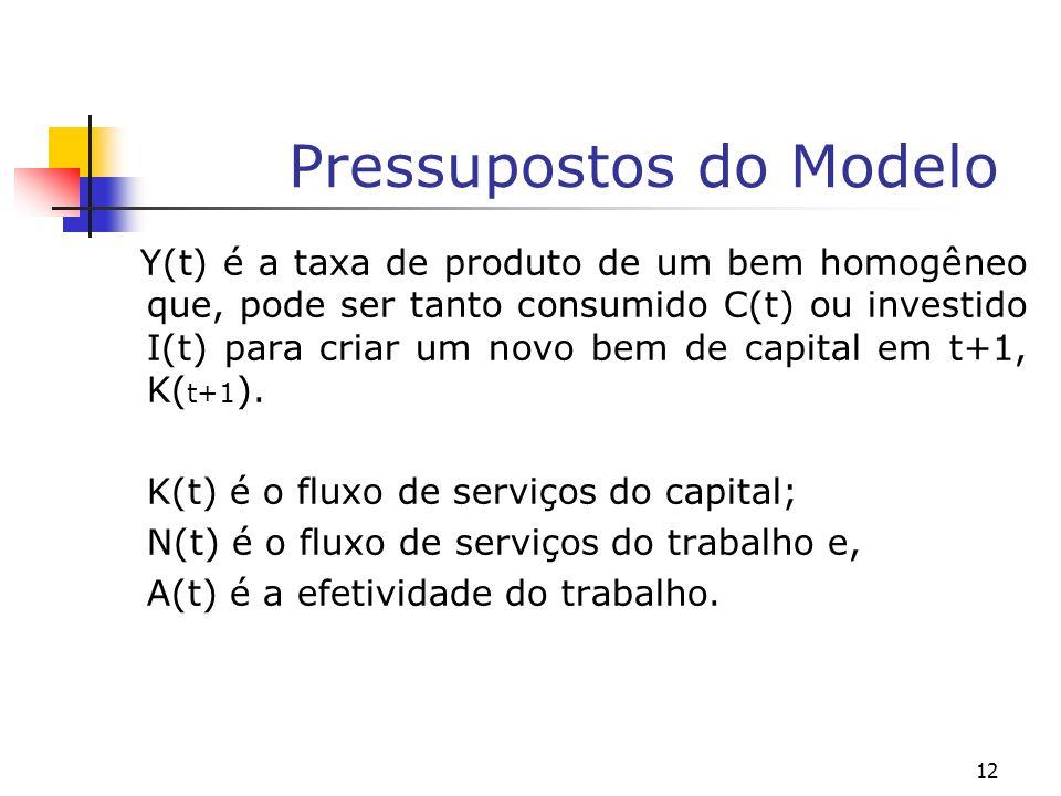 12 Pressupostos do Modelo Y(t) é a taxa de produto de um bem homogêneo que, pode ser tanto consumido C(t) ou investido I(t) para criar um novo bem de