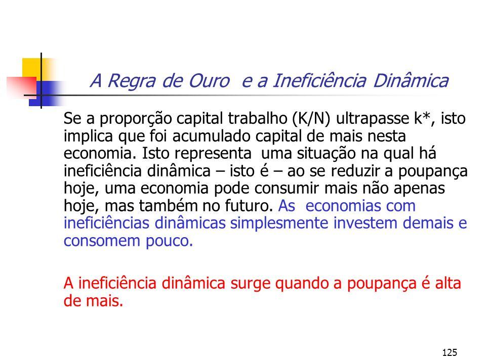 125 A Regra de Ouro e a Ineficiência Dinâmica Se a proporção capital trabalho (K/N) ultrapasse k*, isto implica que foi acumulado capital de mais nest