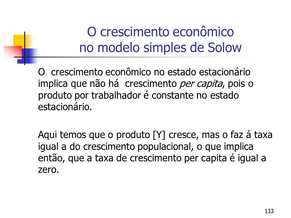 133 O crescimento econômico no modelo simples de Solow O crescimento econômico no estado estacionário implica que não há crescimento per capita, pois