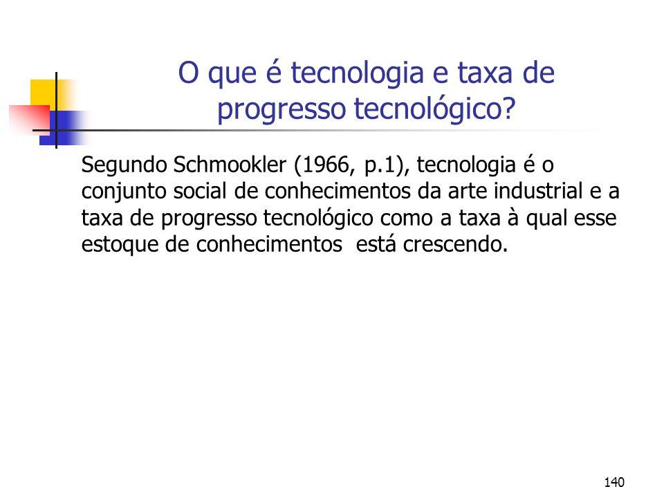 140 O que é tecnologia e taxa de progresso tecnológico? Segundo Schmookler (1966, p.1), tecnologia é o conjunto social de conhecimentos da arte indust