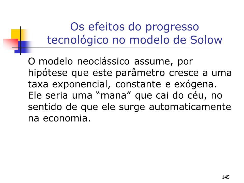 145 Os efeitos do progresso tecnológico no modelo de Solow O modelo neoclássico assume, por hipótese que este parâmetro cresce a uma taxa exponencial,