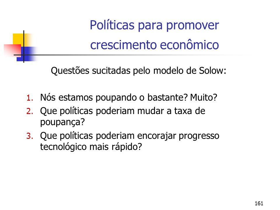 161 Políticas para promover crescimento econômico Questões sucitadas pelo modelo de Solow: 1. Nós estamos poupando o bastante? Muito? 2. Que políticas