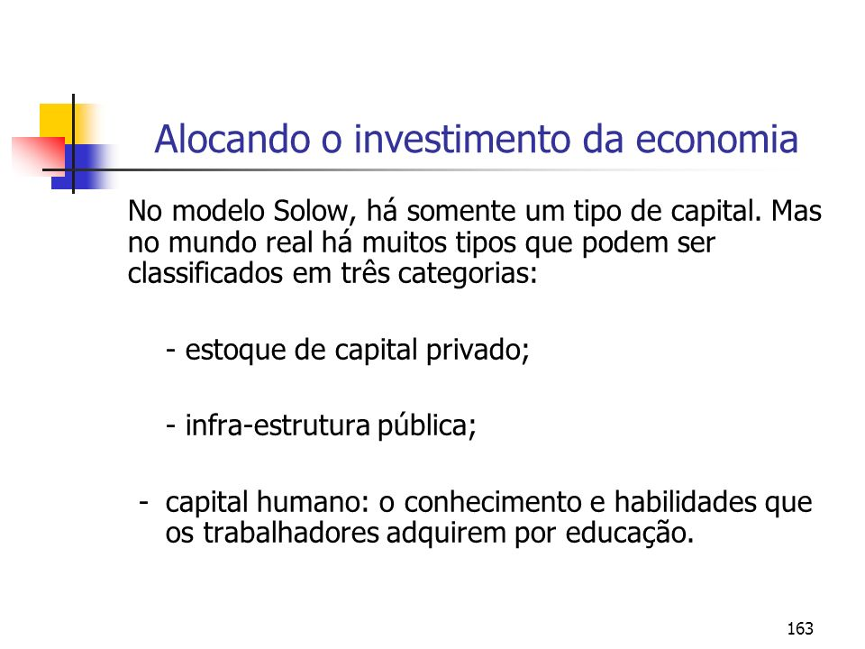 163 Alocando o investimento da economia No modelo Solow, há somente um tipo de capital. Mas no mundo real há muitos tipos que podem ser classificados