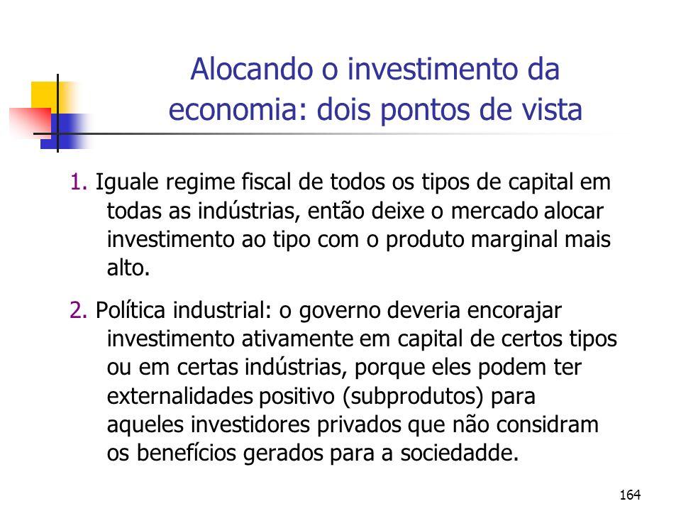 164 Alocando o investimento da economia: dois pontos de vista 1. Iguale regime fiscal de todos os tipos de capital em todas as indústrias, então deixe