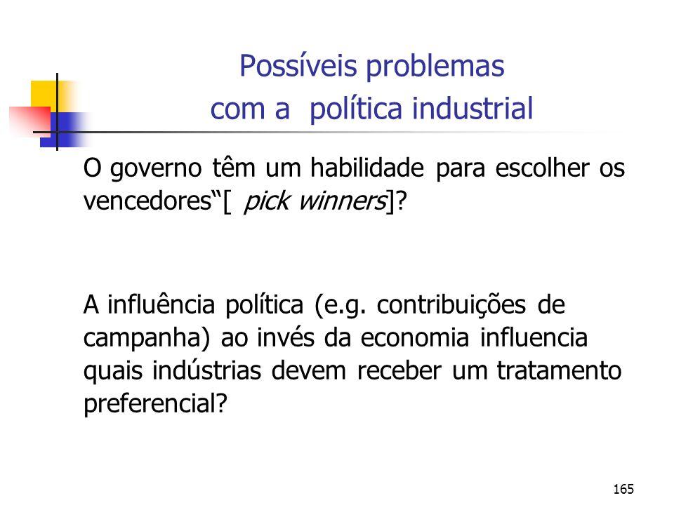 165 Possíveis problemas com a política industrial O governo têm um habilidade para escolher os vencedores[ pick winners]? A influência política (e.g.