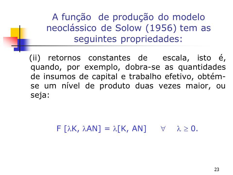 23 A função de produção do modelo neoclássico de Solow (1956) tem as seguintes propriedades: (ii) retornos constantes de escala, isto é, quando, por e
