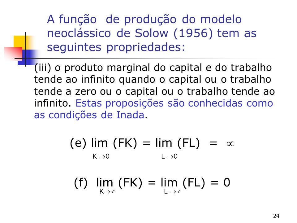 24 A função de produção do modelo neoclássico de Solow (1956) tem as seguintes propriedades: (iii) o produto marginal do capital e do trabalho tende a