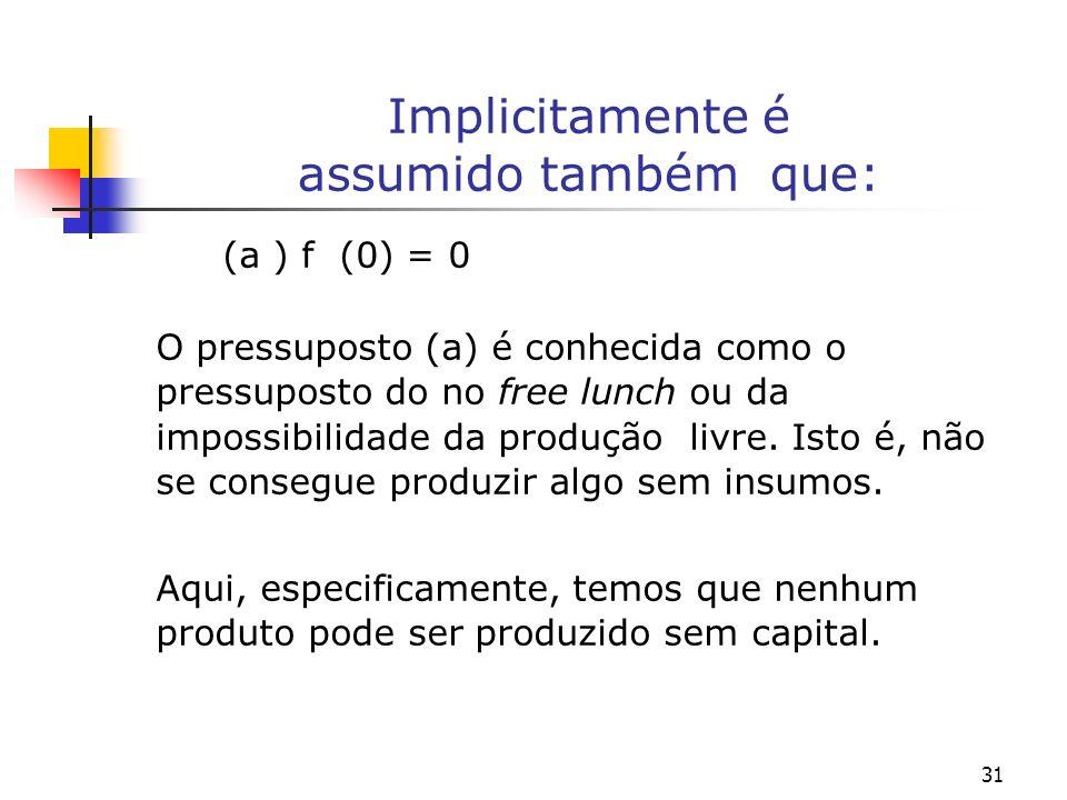 31 Implicitamente é assumido também que: (a ) f (0) = 0 O pressuposto (a) é conhecida como o pressuposto do no free lunch ou da impossibilidade da pro