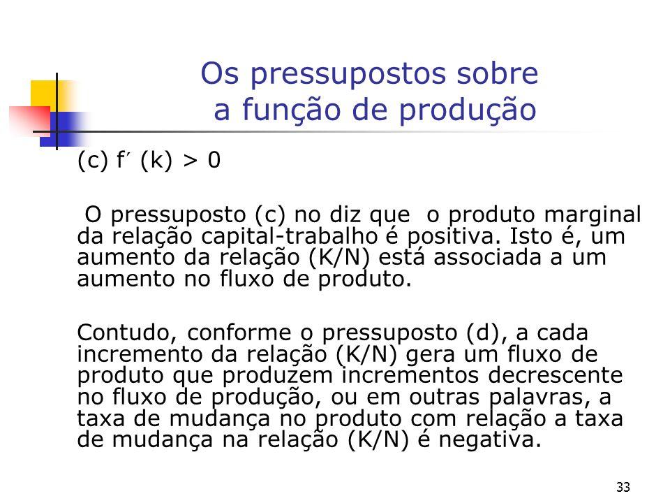 33 Os pressupostos sobre a função de produção (c) f´ (k) > 0 O pressuposto (c) no diz que o produto marginal da relação capital-trabalho é positiva. I