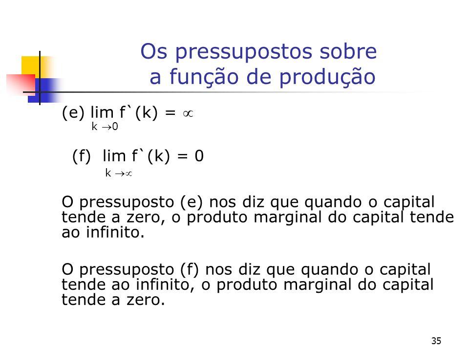 35 Os pressupostos sobre a função de produção (e) lim f`(k) = k 0 (f) lim f`(k) = 0 k O pressuposto (e) nos diz que quando o capital tende a zero, o p