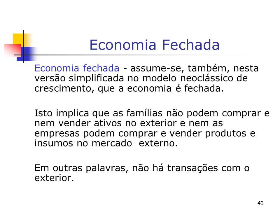 40 Economia Fechada Economia fechada - assume-se, também, nesta versão simplificada no modelo neoclássico de crescimento, que a economia é fechada. Is