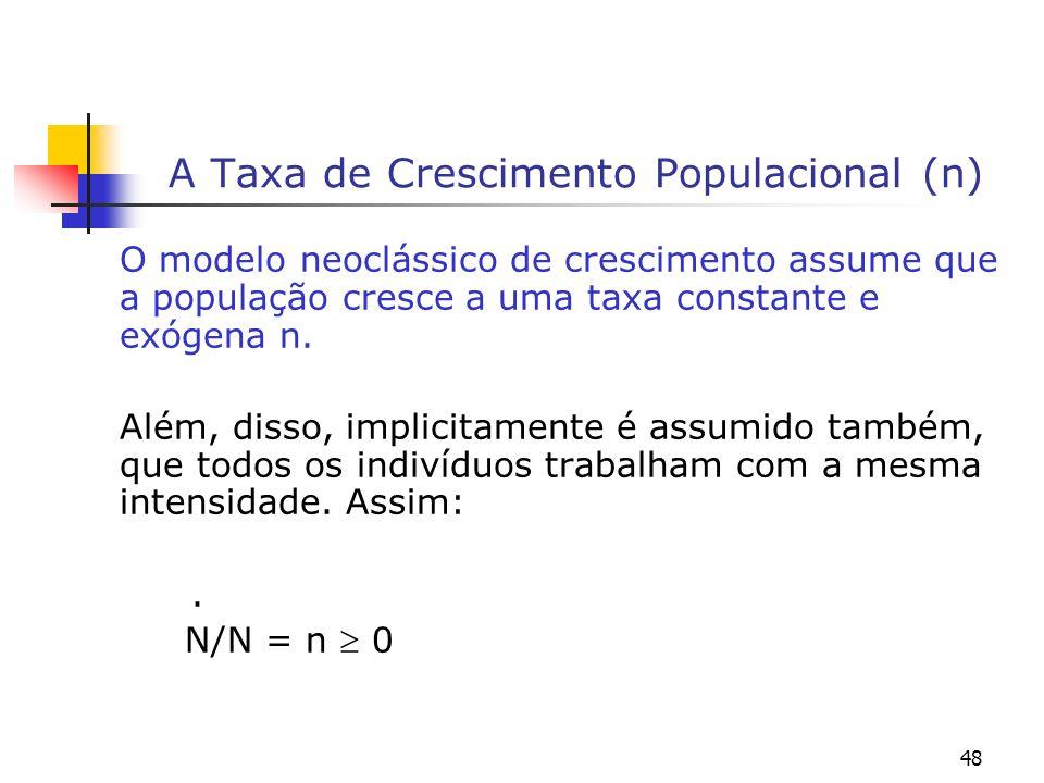 48 A Taxa de Crescimento Populacional (n) O modelo neoclássico de crescimento assume que a população cresce a uma taxa constante e exógena n. Além, di