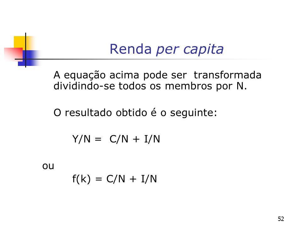 52 Renda per capita A equação acima pode ser transformada dividindo-se todos os membros por N. O resultado obtido é o seguinte: Y/N = C/N + I/N ou f(k