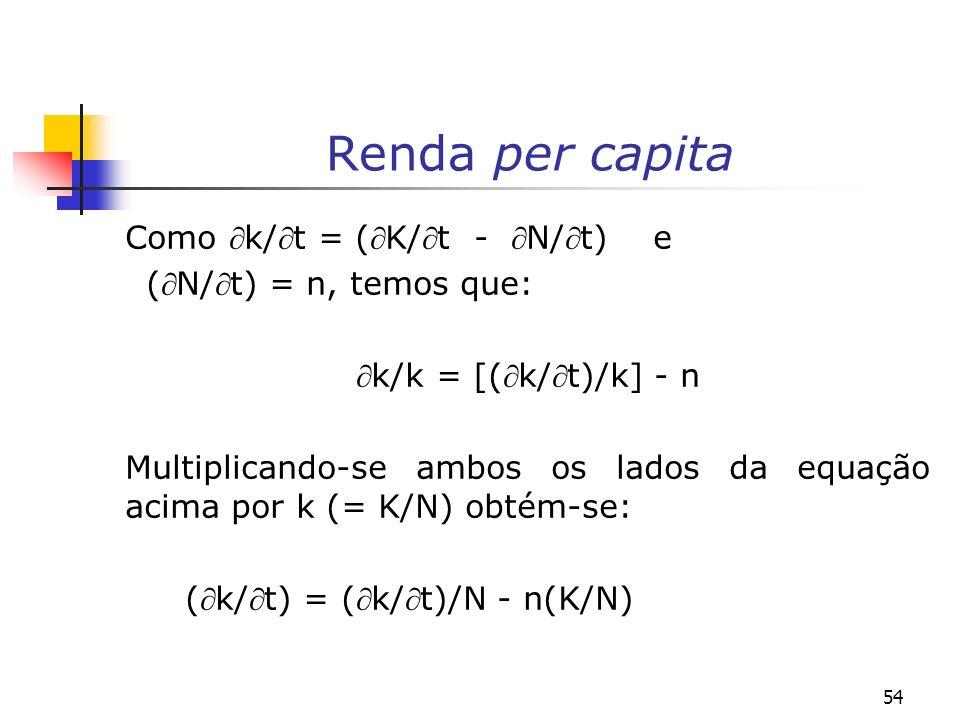 54 Renda per capita Como k/t = (K/t - N/t) e (N/t) = n, temos que: k/k = [(k/t)/k] - n Multiplicando-se ambos os lados da equação acima por k (= K/N)