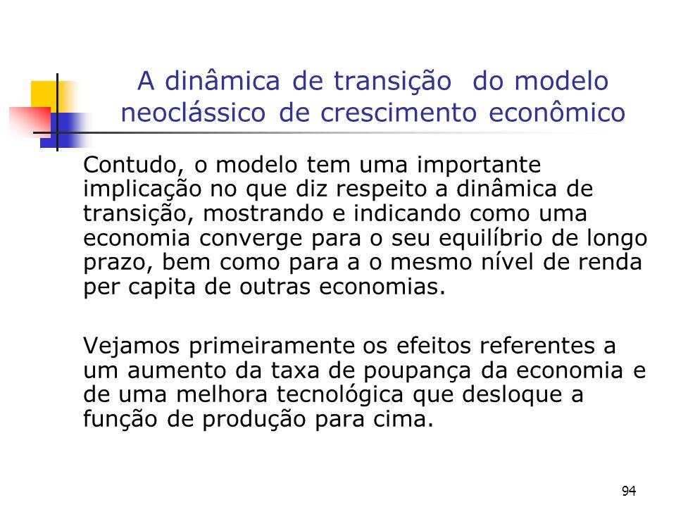94 A dinâmica de transição do modelo neoclássico de crescimento econômico Contudo, o modelo tem uma importante implicação no que diz respeito a dinâmi
