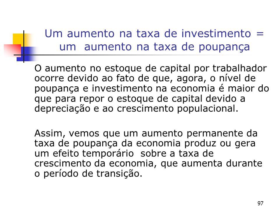 97 Um aumento na taxa de investimento = um aumento na taxa de poupança O aumento no estoque de capital por trabalhador ocorre devido ao fato de que, a