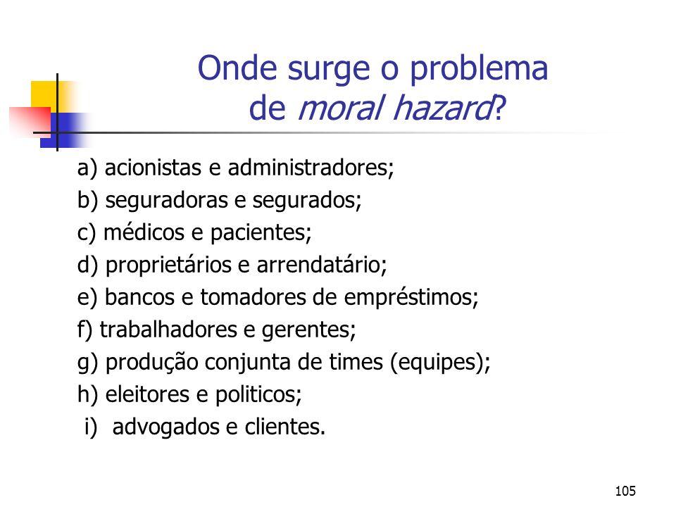 105 Onde surge o problema de moral hazard? a) acionistas e administradores; b) seguradoras e segurados; c) médicos e pacientes; d) proprietários e arr