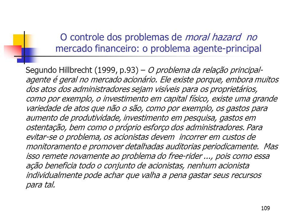 109 O controle dos problemas de moral hazard no mercado financeiro: o problema agente-principal Segundo Hillbrecht (1999, p.93) – O problema da relaçã