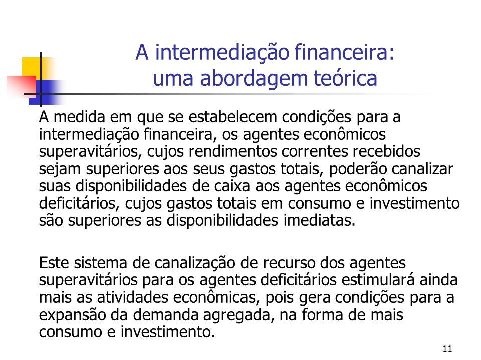 11 A intermediação financeira: uma abordagem teórica A medida em que se estabelecem condições para a intermediação financeira, os agentes econômicos s