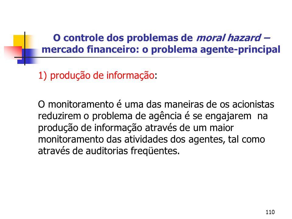 110 O controle dos problemas de moral hazard – mercado financeiro: o problema agente-principal 1) produção de informação: O monitoramento é uma das ma