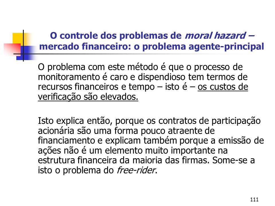 111 O controle dos problemas de moral hazard – mercado financeiro: o problema agente-principal O problema com este método é que o processo de monitora