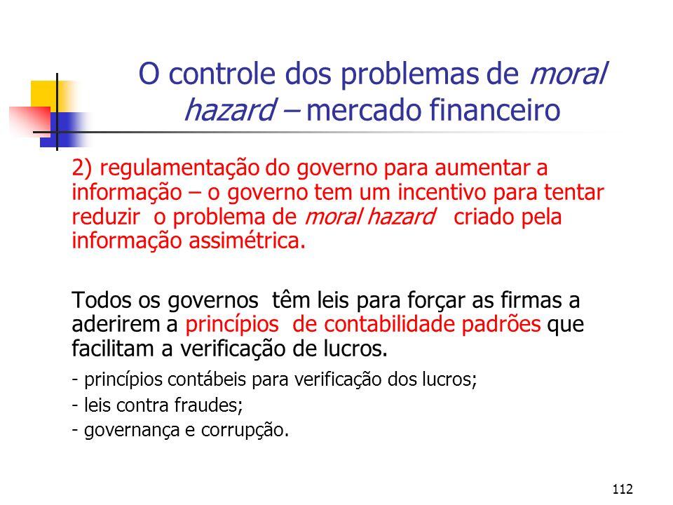 112 O controle dos problemas de moral hazard – mercado financeiro 2) regulamentação do governo para aumentar a informação – o governo tem um incentivo