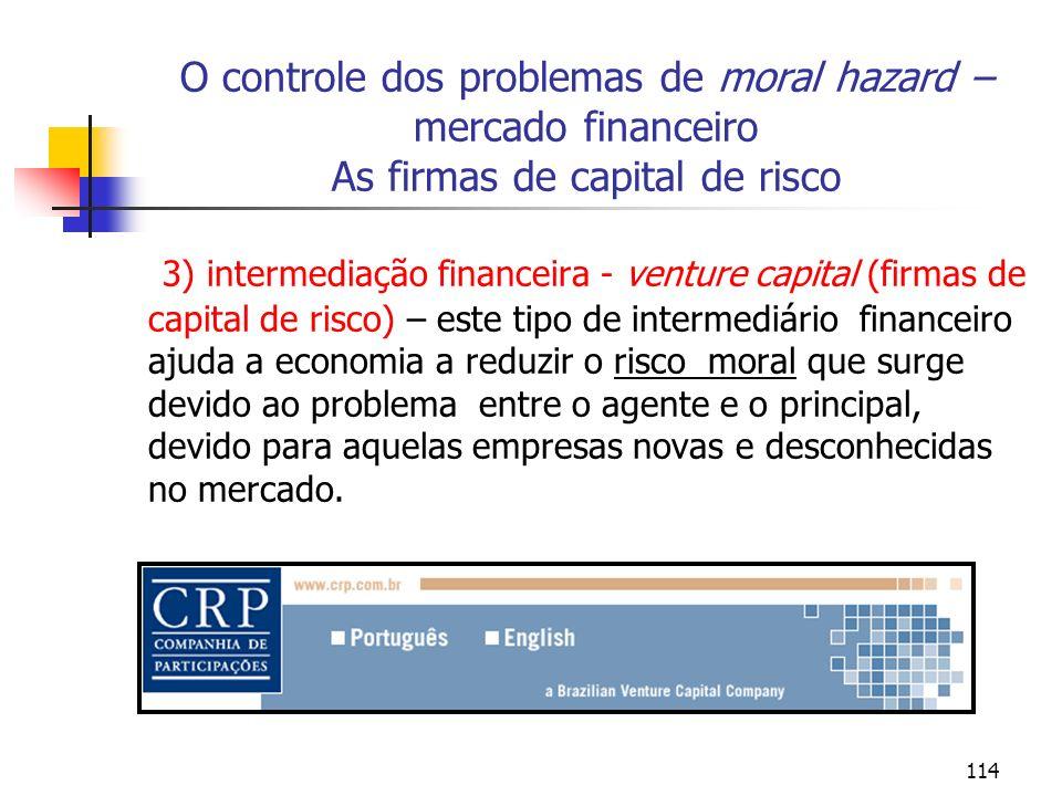 114 O controle dos problemas de moral hazard – mercado financeiro As firmas de capital de risco 3) intermediação financeira - venture capital (firmas