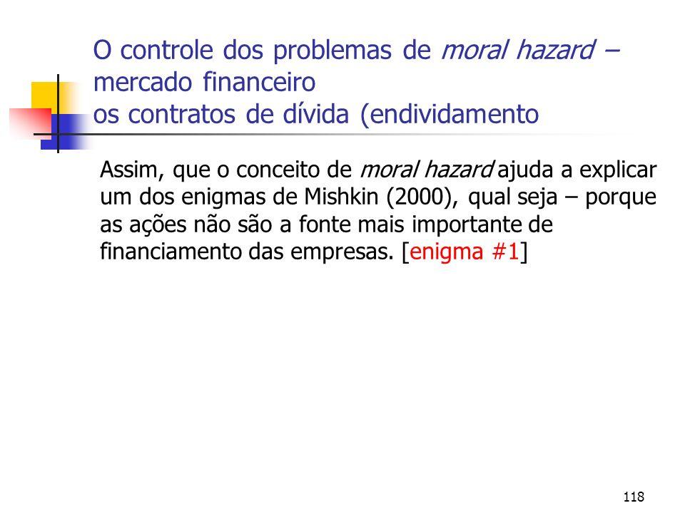 118 O controle dos problemas de moral hazard – mercado financeiro os contratos de dívida (endividamento Assim, que o conceito de moral hazard ajuda a