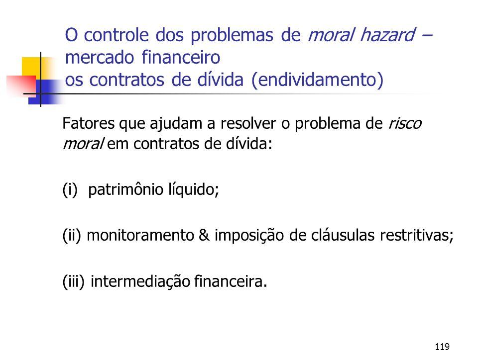 119 O controle dos problemas de moral hazard – mercado financeiro os contratos de dívida (endividamento) Fatores que ajudam a resolver o problema de r