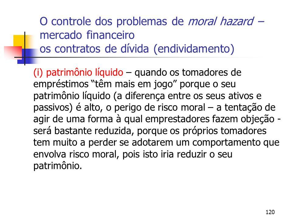 120 O controle dos problemas de moral hazard – mercado financeiro os contratos de dívida (endividamento) (i) patrimônio líquido – quando os tomadores