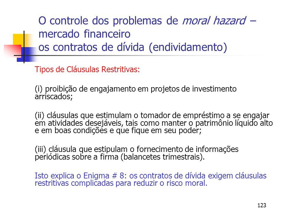 123 O controle dos problemas de moral hazard – mercado financeiro os contratos de dívida (endividamento) Tipos de Cláusulas Restritivas: (i) proibição