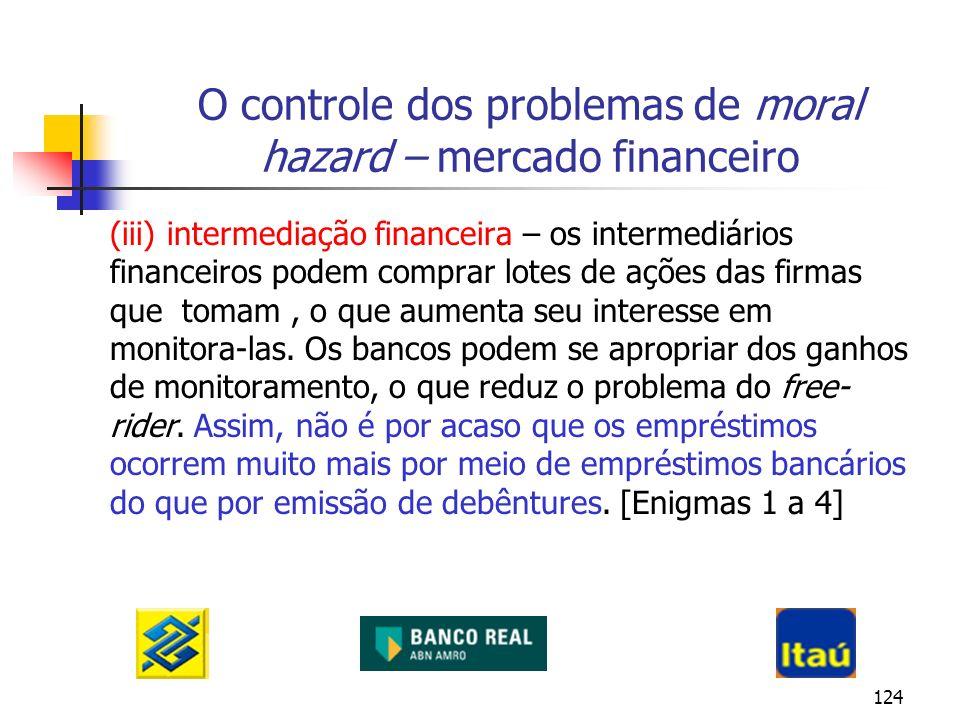 124 O controle dos problemas de moral hazard – mercado financeiro (iii) intermediação financeira – os intermediários financeiros podem comprar lotes d