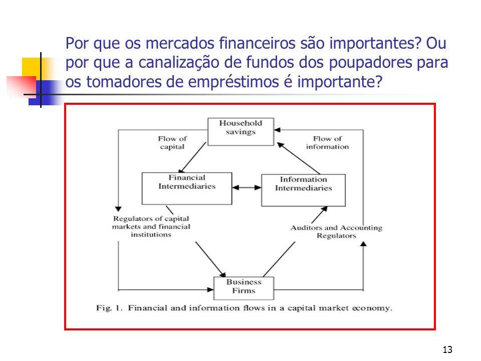 13 Por que os mercados financeiros são importantes? Ou por que a canalização de fundos dos poupadores para os tomadores de empréstimos é importante?