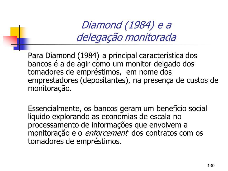 130 Diamond (1984) e a delegação monitorada Para Diamond (1984) a principal característica dos bancos é a de agir como um monitor delgado dos tomadore