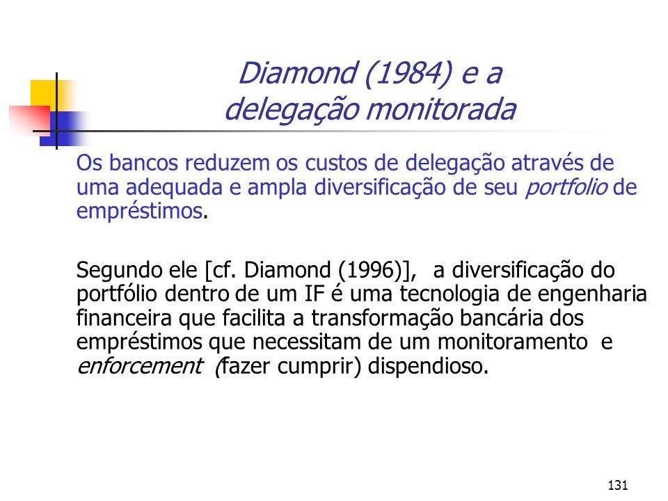 131 Diamond (1984) e a delegação monitorada Os bancos reduzem os custos de delegação através de uma adequada e ampla diversificação de seu portfolio d