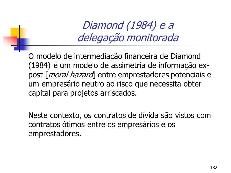 132 Diamond (1984) e a delegação monitorada O modelo de intermediação financeira de Diamond (1984) é um modelo de assimetria de informação ex- post [m