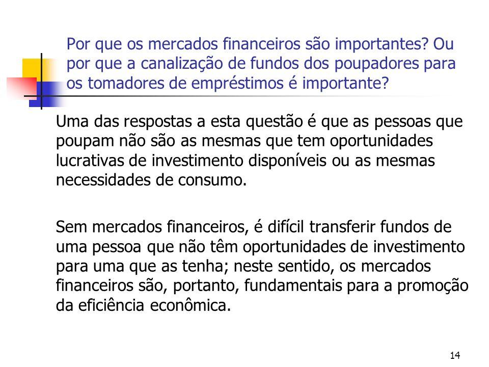 14 Por que os mercados financeiros são importantes? Ou por que a canalização de fundos dos poupadores para os tomadores de empréstimos é importante? U