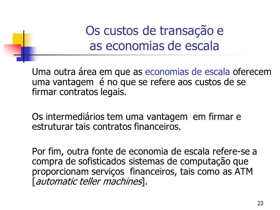 23 Os custos de transação e as economias de escala Uma outra área em que as economias de escala oferecem uma vantagem é no que se refere aos custos de