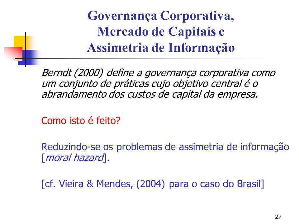 27 Governança Corporativa, Mercado de Capitais e Assimetria de Informação Berndt (2000) define a governança corporativa como um conjunto de práticas c