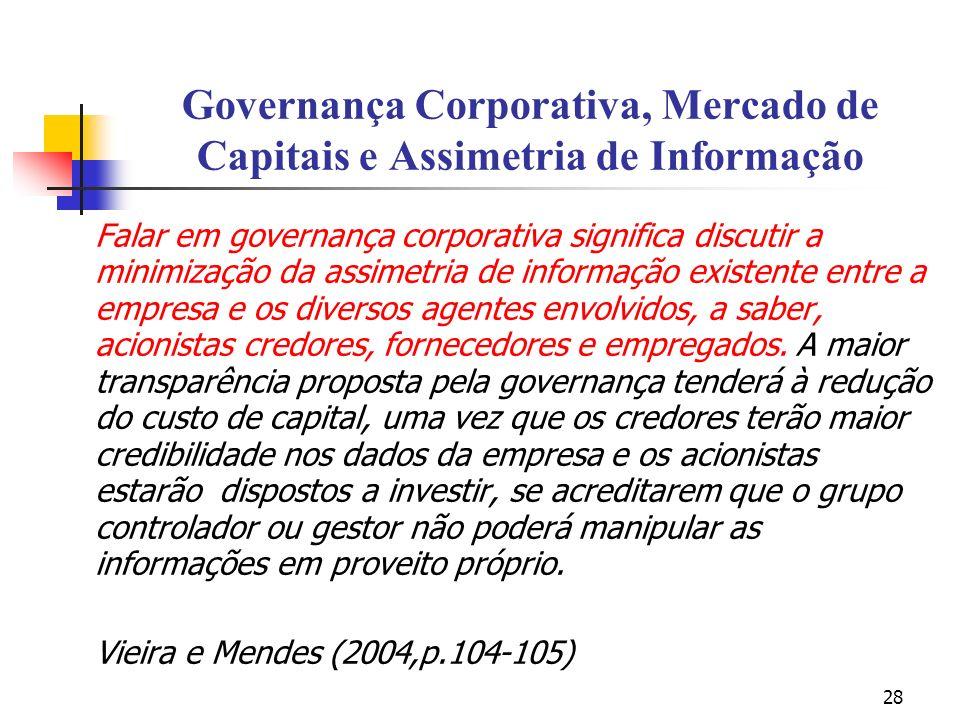 28 Governança Corporativa, Mercado de Capitais e Assimetria de Informação Falar em governança corporativa significa discutir a minimização da assimetr