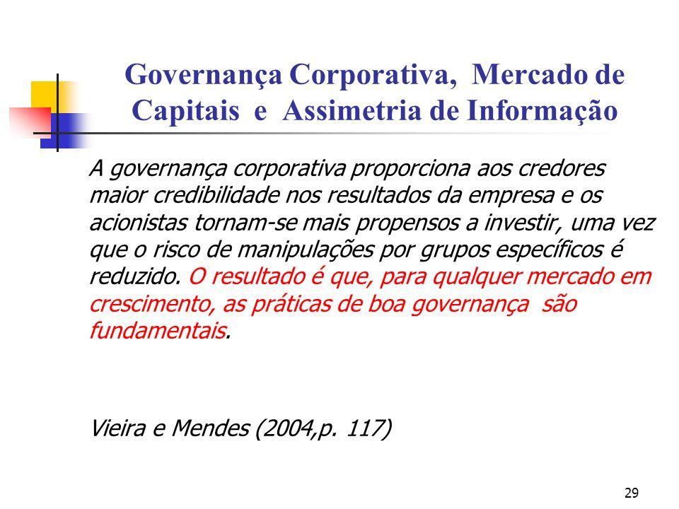 29 Governança Corporativa, Mercado de Capitais e Assimetria de Informação A governança corporativa proporciona aos credores maior credibilidade nos re