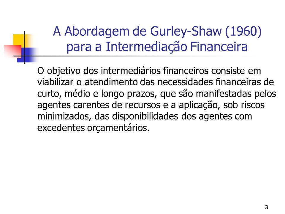 3 A Abordagem de Gurley-Shaw (1960) para a Intermediação Financeira O objetivo dos intermediários financeiros consiste em viabilizar o atendimento das