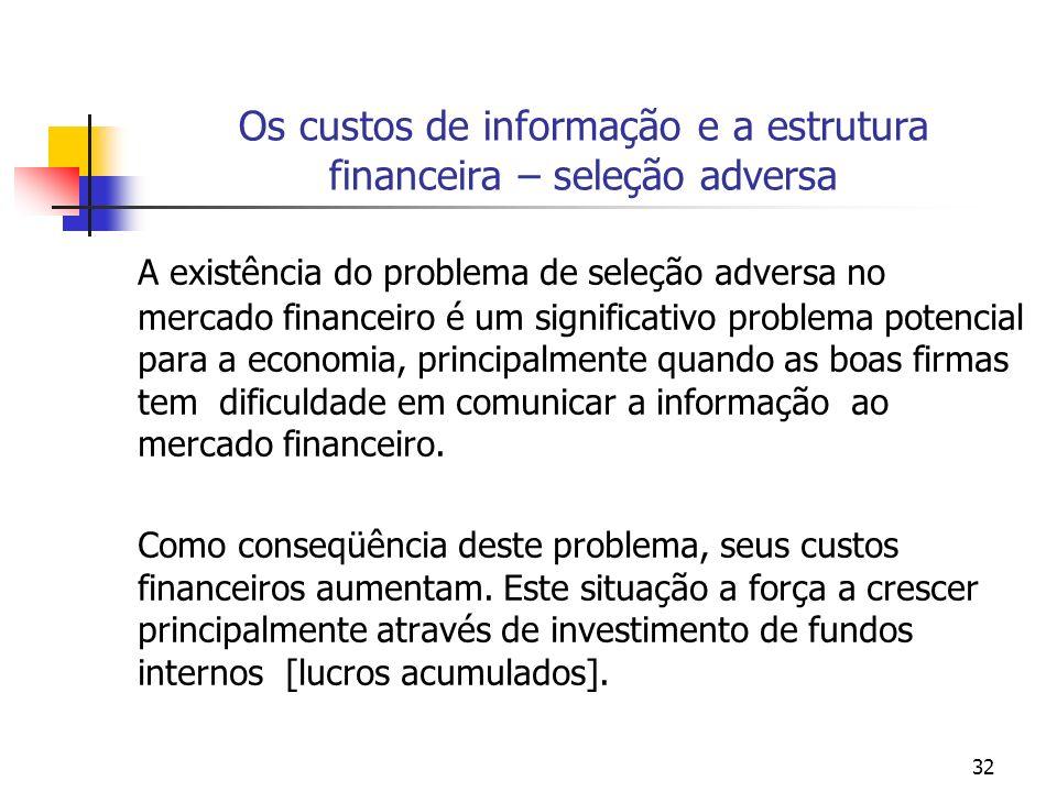32 Os custos de informação e a estrutura financeira – seleção adversa A existência do problema de seleção adversa no mercado financeiro é um significa