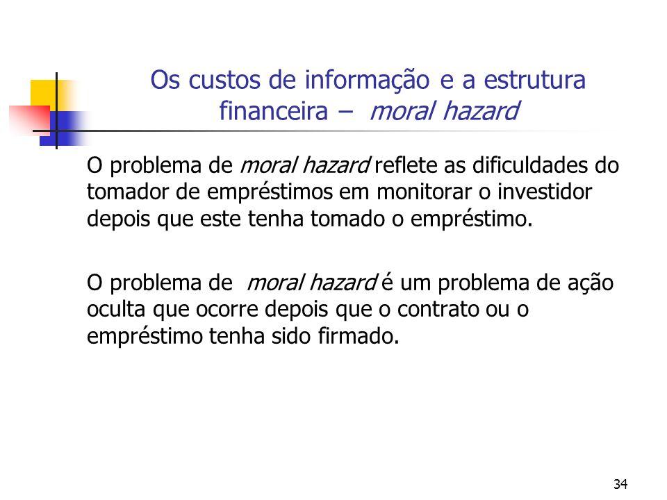34 Os custos de informação e a estrutura financeira – moral hazard O problema de moral hazard reflete as dificuldades do tomador de empréstimos em mon