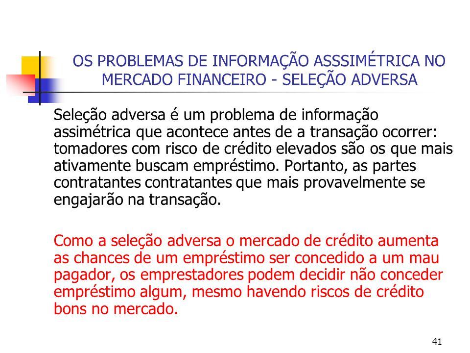 41 OS PROBLEMAS DE INFORMAÇÃO ASSSIMÉTRICA NO MERCADO FINANCEIRO - SELEÇÃO ADVERSA Seleção adversa é um problema de informação assimétrica que acontec