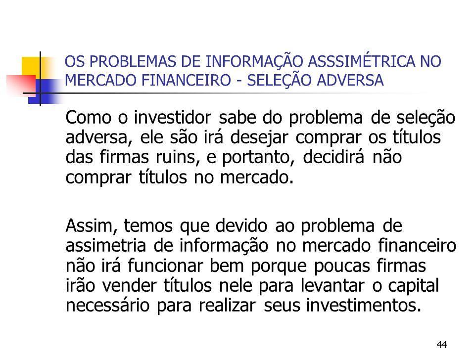 44 OS PROBLEMAS DE INFORMAÇÃO ASSSIMÉTRICA NO MERCADO FINANCEIRO - SELEÇÃO ADVERSA Como o investidor sabe do problema de seleção adversa, ele são irá