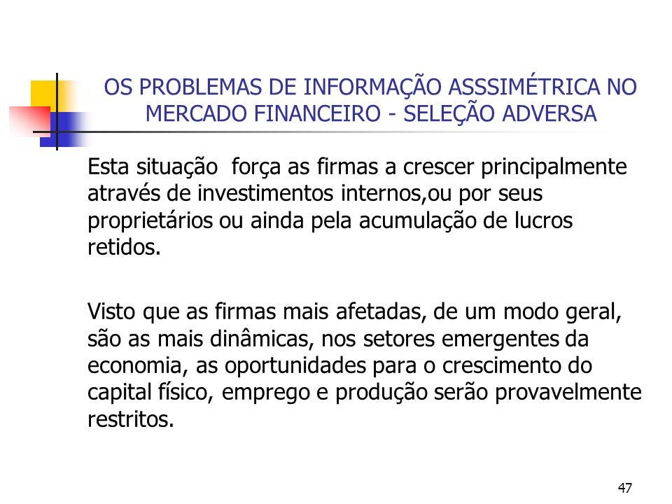 47 OS PROBLEMAS DE INFORMAÇÃO ASSSIMÉTRICA NO MERCADO FINANCEIRO - SELEÇÃO ADVERSA Esta situação força as firmas a crescer principalmente através de i